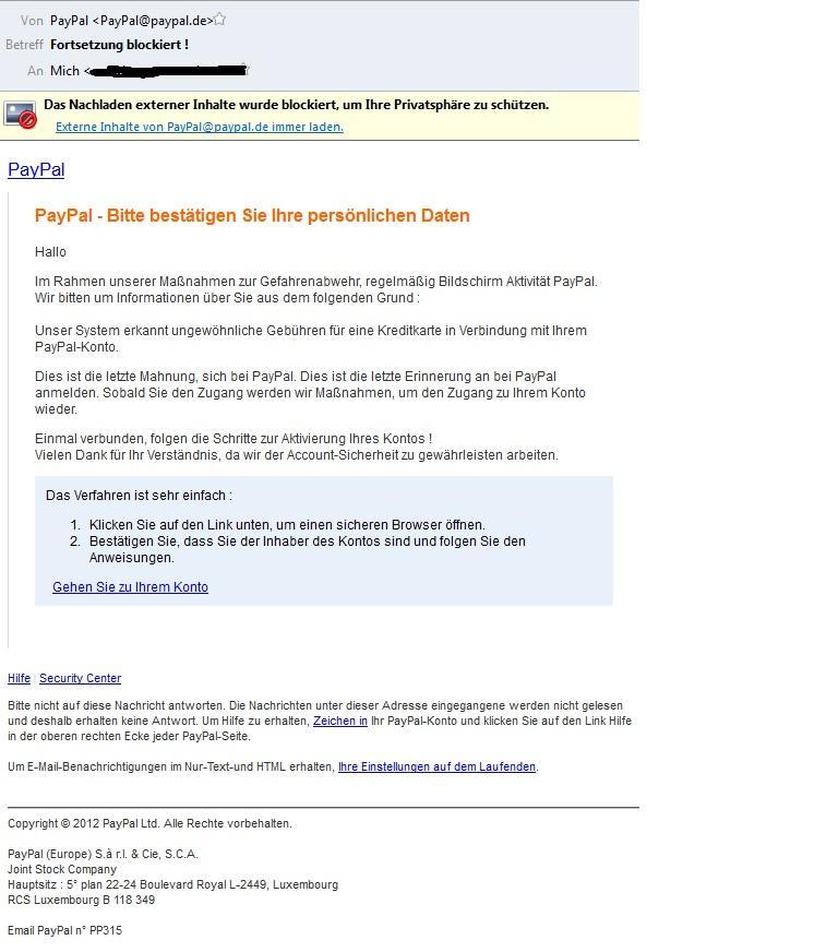 Eine Phishing Email