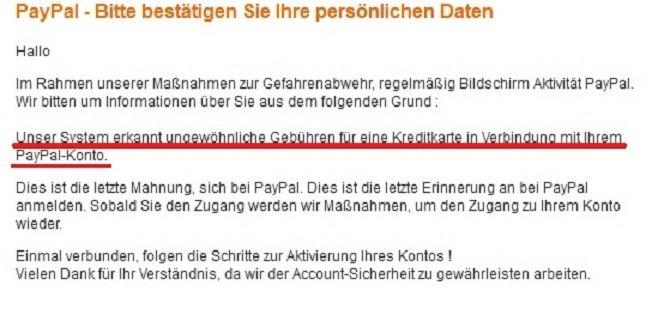 Der Inhalt einer Phishing Mail