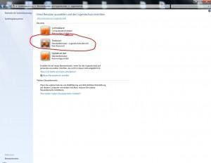 Windows 7 Benutzerkonto auswählen